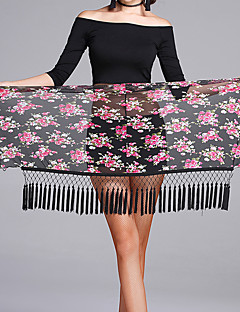 Latin Dance Hip Scarves Women's Performance Tulle Pattern/Print Tassel(s) 1 Piece