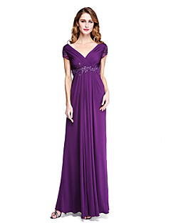 2017 Lanting Bride® Sheath / Column Mother of the Bride Dress - Open Back Elegant Floor-length Short Sleeve Jersey withAppliques Beading Criss