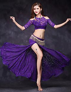 Taniec brzucha Outfits Damskie Wydajność Zasznurować Zasznurować 2 elementy Half Sleeve Naturalny Top Spódnica