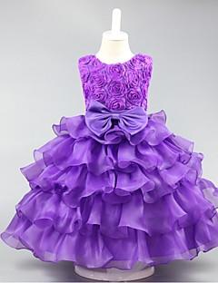 Ball Gown Short / Mini Flower Girl Dress - Organza Jewel with Bow(s) Ruffles