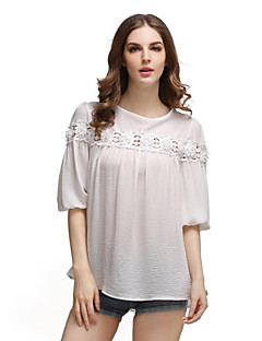 1/2 ærmelængde Rund hals Tynd Dame Blå Rosa Hvid Ensfarvet Forår Sommer Gade Afslappet/Hverdag Formelle T-shirt,Spandex