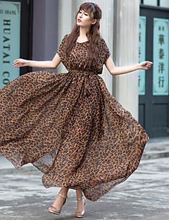 europa og temperament leopard chiffon lang kjole store swing længde nederdel stor størrelse kvinder