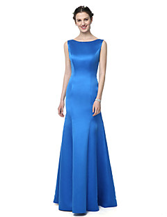 2017 Lanting Bride® Floor-length Satin Chiffon Beautiful Back Bridesmaid Dress - Trumpet / Mermaid Bateau with Pleats