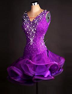 우리는 라틴 댄스 드레스 여자의 성능 organza 드레스한다