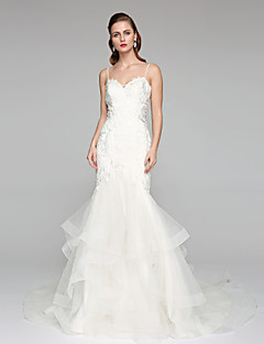 LAN TING BRIDE Fit & Flare Wedding Dress - Chic & Modern See-Through Chapel Train Spaghetti Straps Lace Tulle withAppliques Beading