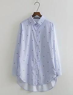 Feminino Camisa Social Para Noite Casual Simples Moda de Rua Outono Inverno,Poá Listrado Floral Algodão Colarinho de Camisa Manga Longa