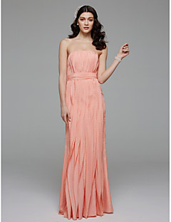 A-Line Strapless Floor Length Chiffon Bridesmaid Dress with Bow(s) Sash / Ribbon by LAN TING BRIDE®