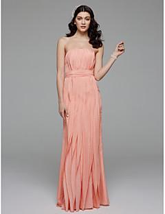 Γραμμή Α Στράπλες Μακρύ Σιφόν Φόρεμα Παρανύμφων με Φιόγκος(οι) Ζώνη / Κορδέλα με LAN TING BRIDE®