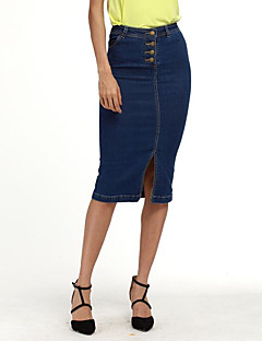 Women's Casual/Daily Midi Skirts,Street chic Bodycon Denim Solid Spring Fall