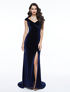 TS Couture Formal Evening Dress - Elegant Celebrity Style Sheath / Column V-neck Sweep / Brush Train Velvet with Pleats
