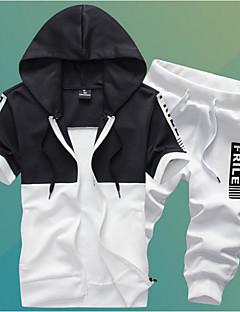 Masculino Moletom Casual Esportivo Activo Simples Estampa Colorida Colarinho de Camisa Algodão Poliéster Micro-Elástico Manga Curta