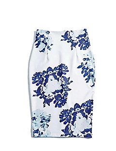 Women's Plus Size Bodycon Floral Skirts,Casual/Daily Work Vintage Street chic High Rise Midi Zipper Polyester Inelastic Spring Summer