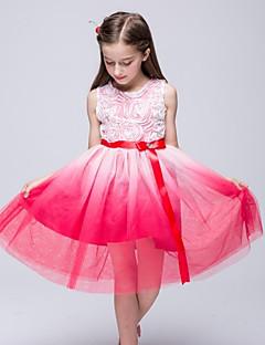 A-line Knee-length Flower Girl Dress - Organza Sleeveless Jewel with Beading