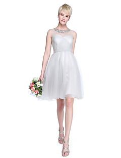 Lanting Bride® באורך  הברך טול אמא ובת שמלה לשושבינה - גזרת A / נסיכה עם תכשיטים פלאס סייז (מידה גדולה) / פטיט עםאפליקציות / חרוזים /