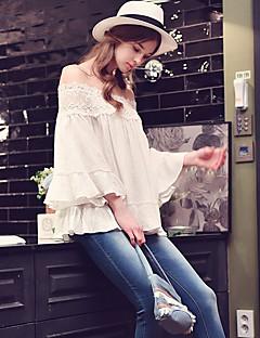 1/2 ærmelængde Skulderfri Solid Medium Hvid Ensfarvet Forår Efterår Sexet Simpel Sofistikerede I-byen-tøj Afslappet/Hverdag Ferie Skjorte,