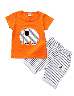 Boys' Casual/Daily Sports Print Sets,Cotton Summer Short Sleeve Clothing Set