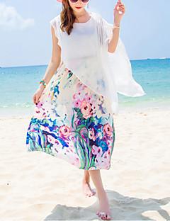 Dámské Cikánský Dovolená Plážové Pouzdro Šaty Květinový,Krátký rukáv Kulatý Midi Polyester Léto Mid Rise Neelastické Střední