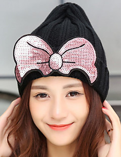 Women Fashionable Winter Sequins Bowknot Pointed Warm Knitted Wool Hat (bow can detachable)