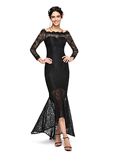 LAN TING BRIDE Asymmetrical Bateau Bridesmaid Dress - Elegant Long Sleeve Lace