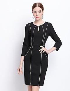 Kadın Dışarı Çıkma Seksi Sofistike Kılıf Elbise Çizgili,¾ Kol Uzunluğu Yuvarlak Yaka Diz üstü Siyah Pamuklu Kış Normal Bel Esnemez Orta