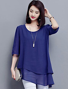 Women's Plus Size Casual/Daily Simple Summer Blouse,Solid Round Neck ½ Length Sleeve Blue Black Polyester Medium