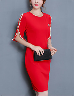 Women's Plus Size Split Beads Slim Bodycon Dress Solid Round Neck Above Knee  Length Sleeve Red Black Cotton  Spring Mid