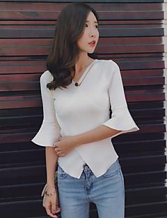 2017 Sommer neue koreanische Temperament stricken V-Ausschnitt Horn Hülse Bluse Mode dünne Bottoming weiblichen Kreuz