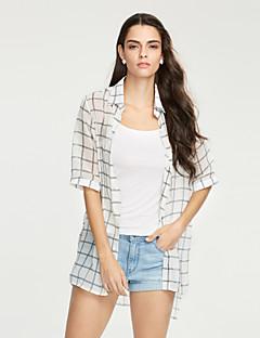 Silke / Polyester Hvit / Sort Tynn Halvlange ermer,Skjortekrage Skjorte Rutet Sommer Gatemote Strand Kvinner