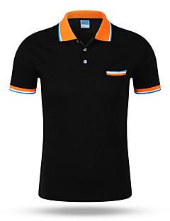Men's Sports Active Summer T-shirt,Solid Peter Pan Collar Short Sleeve Cotton Medium
