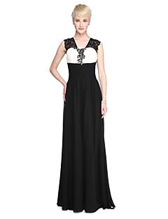 LAN TING BRIDE עד הריצפה רצועות שמלה לשושבינה - בלוק צבע ללא שרוולים שיפון תחרה