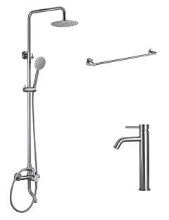 現代風 バスタブとシャワー レインシャワー ワイドspary ハンドシャワーは含まれている with  セラミックバルブ 二つのハンドル二つの穴 for  ブラッシュドニッケル , シャワー水栓