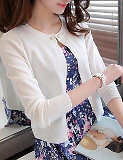 Women's Going out Casual/Daily Short Cardigan,Solid Round Neck Long Sleeve Acrylic Spring Thin Micro-elastic