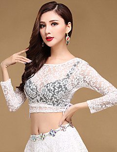 Shall We Belly Dance Tops Women Training Chinlon Lace Sexy Adjustable 1 Piece Long Sleeve Dance Costumes