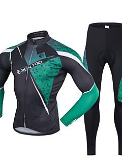 Realtoo Calça com Camisa para Ciclismo Homens Manga Comprida MotoRespirável Secagem Rápida Resistente Raios Ultravioleta Zíper Frontal