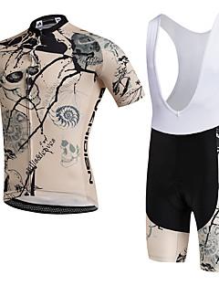 AOZHIDIAN חולצת ג'רסי ומכנס קצר ביב לרכיבה יוניסקס שרוול קצר אופניים נושם ייבוש מהיר עמיד לאבק לביש דחיסה כיס אחורי נמתח תומך זיעהמדים