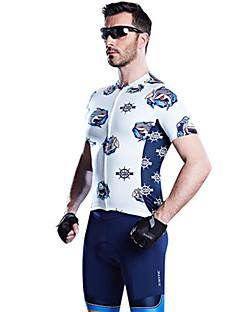 SANTIC Camisa com Shorts para Ciclismo Homens Manga Curta Moto Conjuntos de Roupas Respirável Confortável Redutor de Suor 100% Poliéster