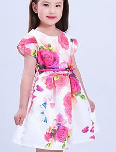 Girl's Solid Dress,Silk Cotton Summer Short Sleeve