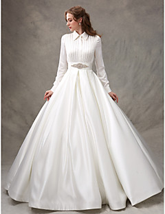 LAN TING BRIDE Ball Gown Wedding Dress Simply Sublime Sweep / Brush Train High Neck Satin with Beading Bow Sash / Ribbon