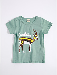 T-shirt Afslappet/Hverdag Dyremønster,Bomuld Sommer Kortærmet