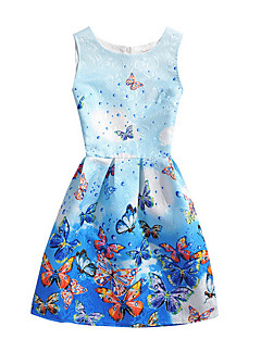Girl's Solid Print Dress,Polyester Summer Sleeveless