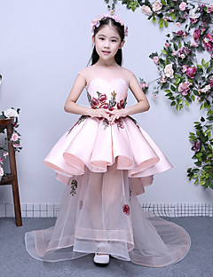 Velmi dlouhá vlečka Mikado Šaty pro malou družičku Plesové šaty Klenot s Aplikace