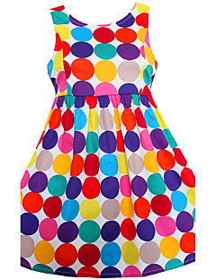 Girls Dress Colorful Dot Belt Dresses 100% Cotton Party Birthday Casual Baby Kids Clothing
