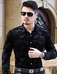 Men's Casual/Daily Simple Spring Shirt,Floral Shirt Collar Long Sleeve Cotton
