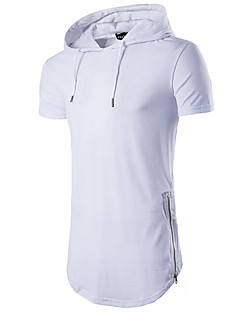 Men's Sports Casual/Daily Simple Summer T-shirt,Solid Hooded Short Sleeve Cotton Medium