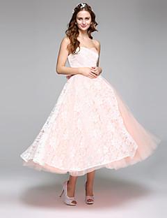 LAN TING BRIDE Linha A Vestido de casamento Simplesmente Sublime Vestidos Noiva de Cor Longuette Coração Renda Cetim Tule comLaço Renda