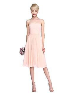LAN TING BRIDE Ke kolenům Bez ramínek Šaty pro družičky - Různorodé šaty Bez rukávů Šifón