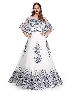 aラインジュエルネックフロアレングスチュールイブニングドレス