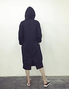 Damer Afslappet/Hverdag I-byen-tøj Hattetrøje Ensfarvet Rund hals Polyester Mikroelastisk Langærmet Vinter