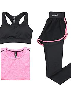 Mulheres Manga Comprida Corrida Sutiã Esportivo Camiseta Conjuntos de Roupas/Ternos Respirável Secagem Rápida Primavera Verão OutonoModa