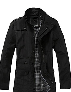 Men's Casual/Daily Work Party/Cocktail Simple Punk & Gothic Fall Winter Jacket,Solid Stand Long Sleeve Regular Polyester